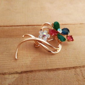 surf-the-waves red green and blue stone brooch